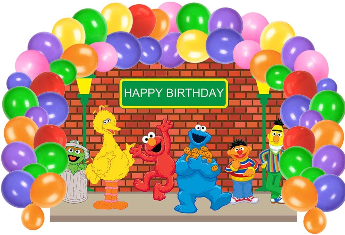 UJGTAR Replacement For Sesame Street Birthday Party Supplies, Backdrop And Balloons Kit For Kids Photo Background, (No Banner Cake Topper, Favors And Flatware)