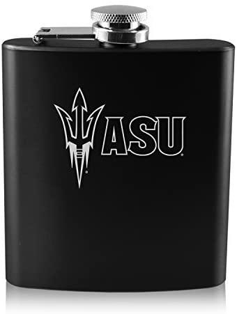 ASU Sun Devils -6 oz. Color Stainless Steel Flask-Black