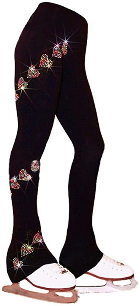 Figure Skating Pants - Ice Skating Practice Leggings Spiral Sparkle Crystals Fleece Lining Trousers