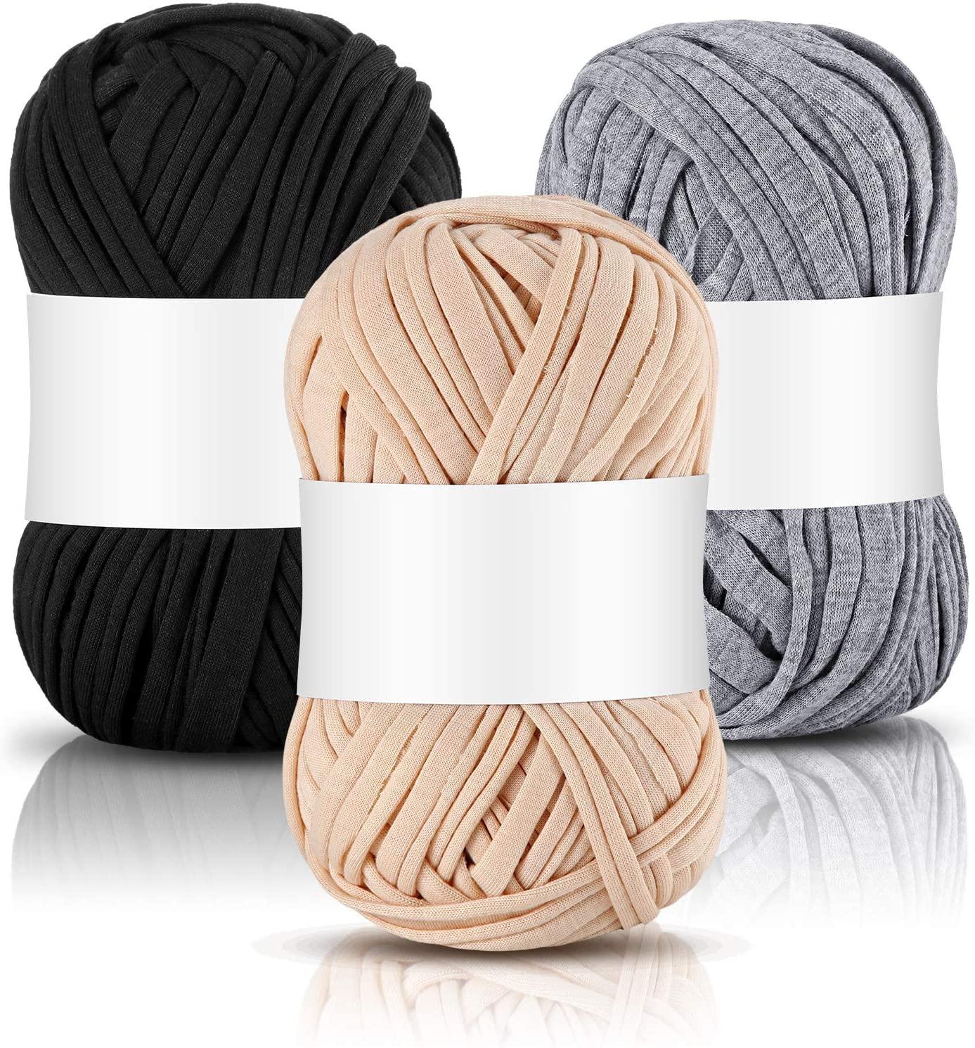 Nuanchu T-Shirt Yarn Fabric Knitting Yarn Spaghetti Yarn Craft in Approx. 121.4 Yards/ 111 Meter Long for Hand DIY Bag Blanket Cushion Crocheting Projects