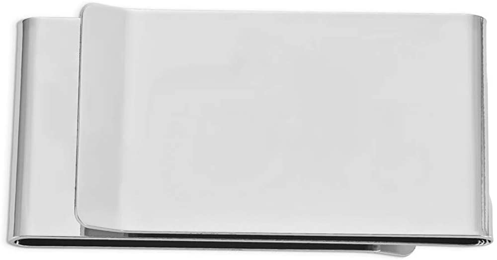 Solid Silver-Tone Double-Sided Slim Business Credit Card Holder Money Clip 3.5