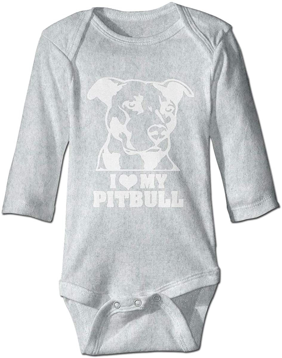I Love My Pitbull Long Sleeves Baby Jumpsuit Romper Onesie Outfit