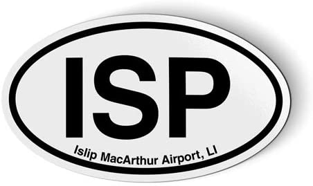 Stickers & Tees ISP Islip MacArthur Airport LI Long Island Oval - Car Magnet - 5