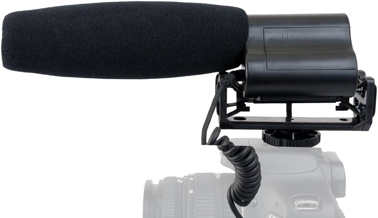 Shotgun Microphone (Stereo) with Windscreen & Dead Cat Muff for Sony FDR-AX100 (w/Multi-Interface Adapter)
