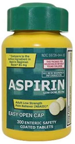 Aspirin, 81 Mg, 300 Enteric Safety Coated Tablets