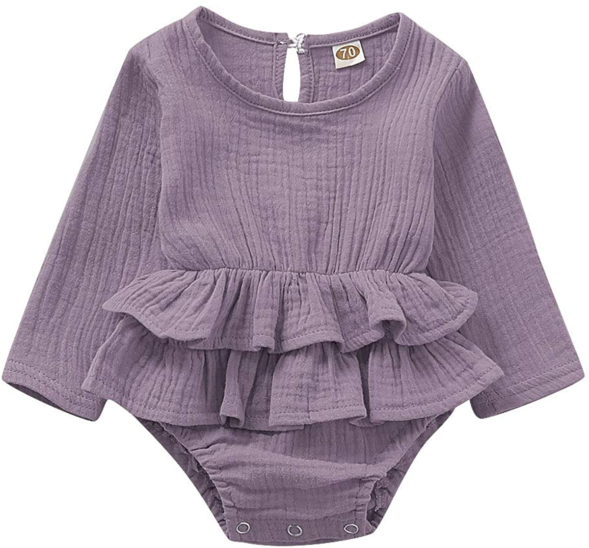 FOMOYUU Baby Girl Fall Romper Sweater Clothes Newborn Infant Ruffle Jumpsuit Autumn Spring Pure Purple