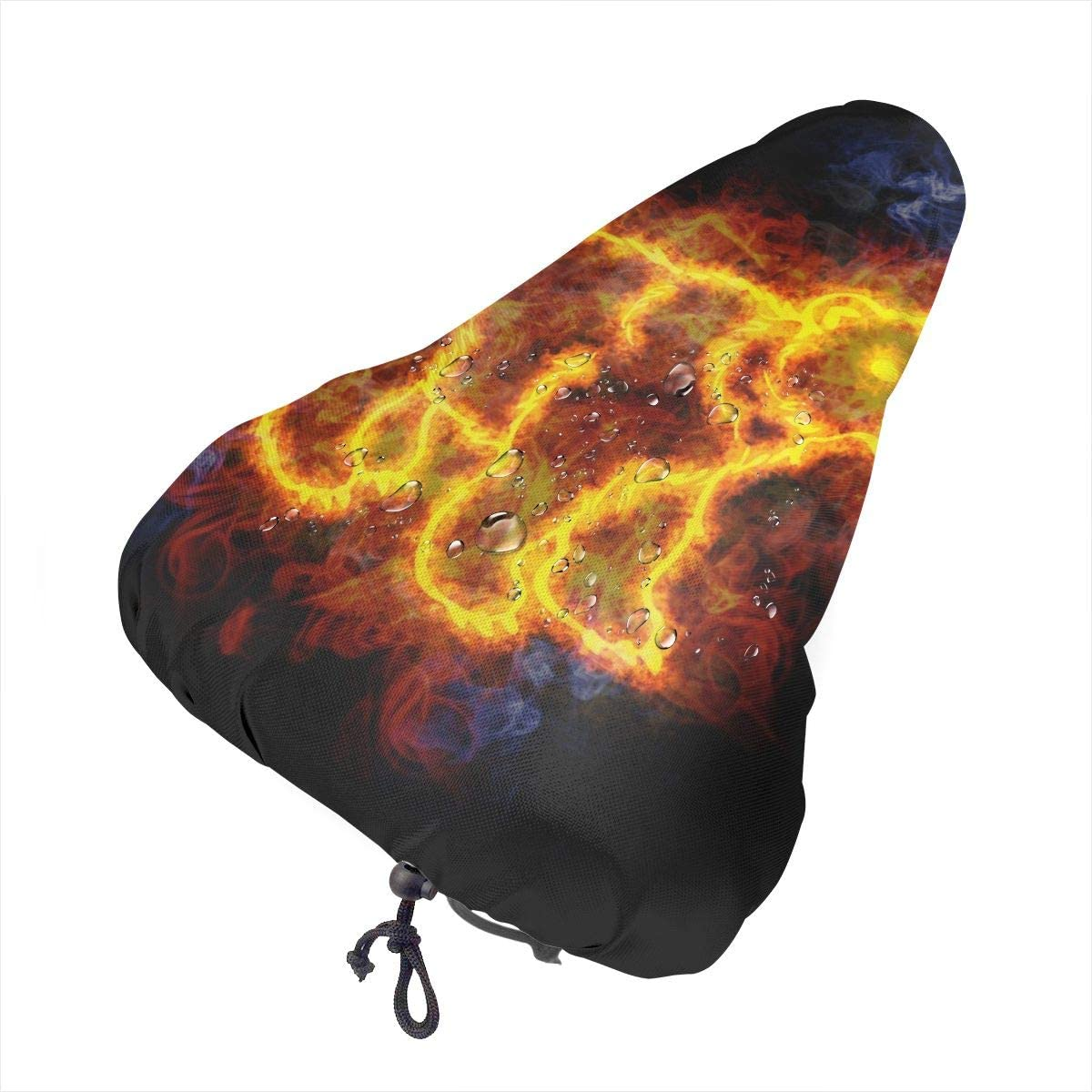ZHOUSUN Waterproof Bike Seat Cover Cute Bear, Covered in Flames. Bicycle Saddle Rain Dust Covers with Drawstring,Comfort for Women,Men,Kids