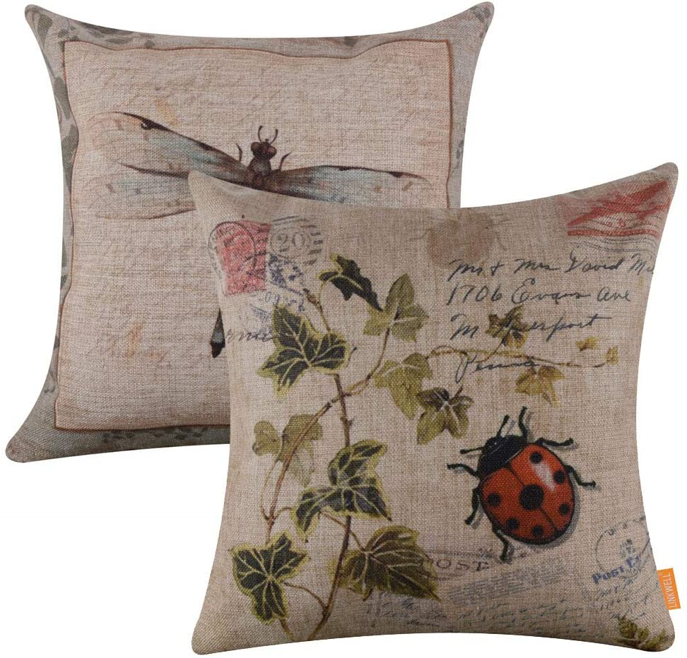 LINKWELL Pack of 2, Square Throw Pillow Covers Set Decorative Cushion Case for Sofa Bedroom Car Couch 18 x 18 Inch - French Country Ladybird and Dragonfly CC267-474