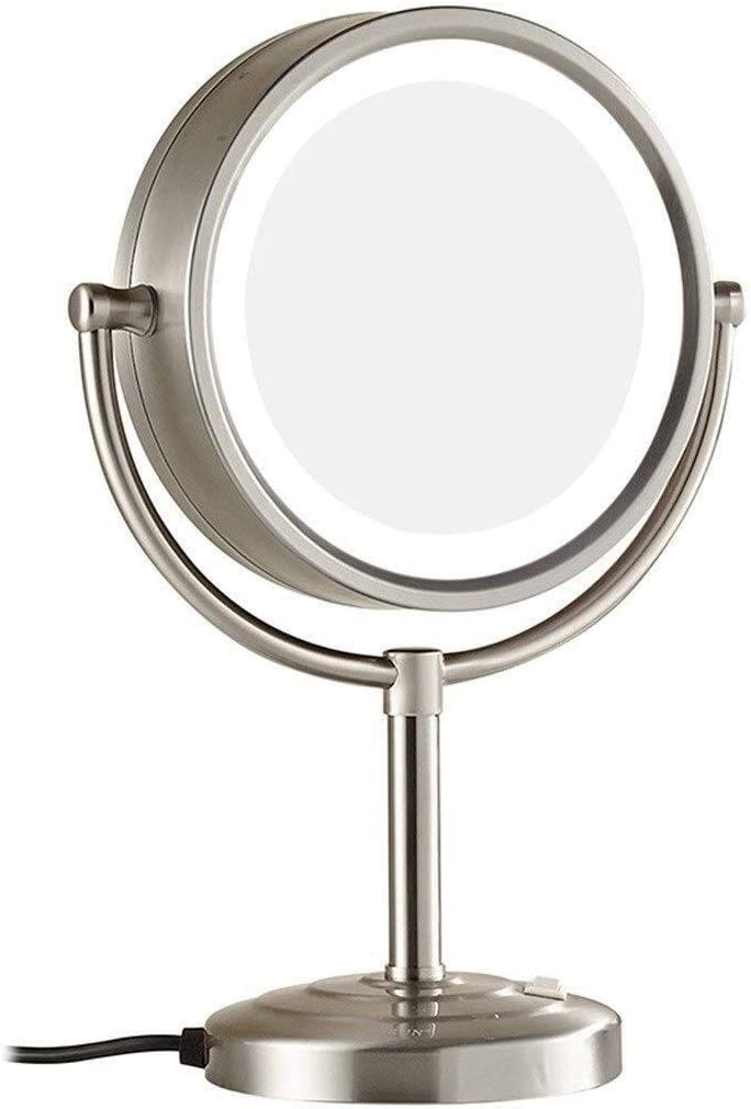 KONGZIR Wall-Mounted Makeup Mirror Quality 8.5 Inch Desktop LED Makeup Mirror Brushed Nickel Double Sided 3X Magnified Lighted Makeup Mirror (Color : Brushed Nickel, Size : 8.5 inches 3X)