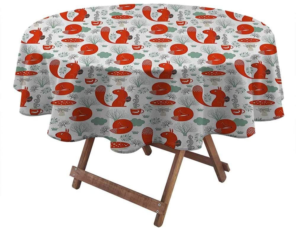 Round Tablecloths for Parties Animal Outdoor/Indoor Waterproof Spillproof Cute Fox and Squirrel in The Garden with Tree Leaf Flower Figures Illustration 54
