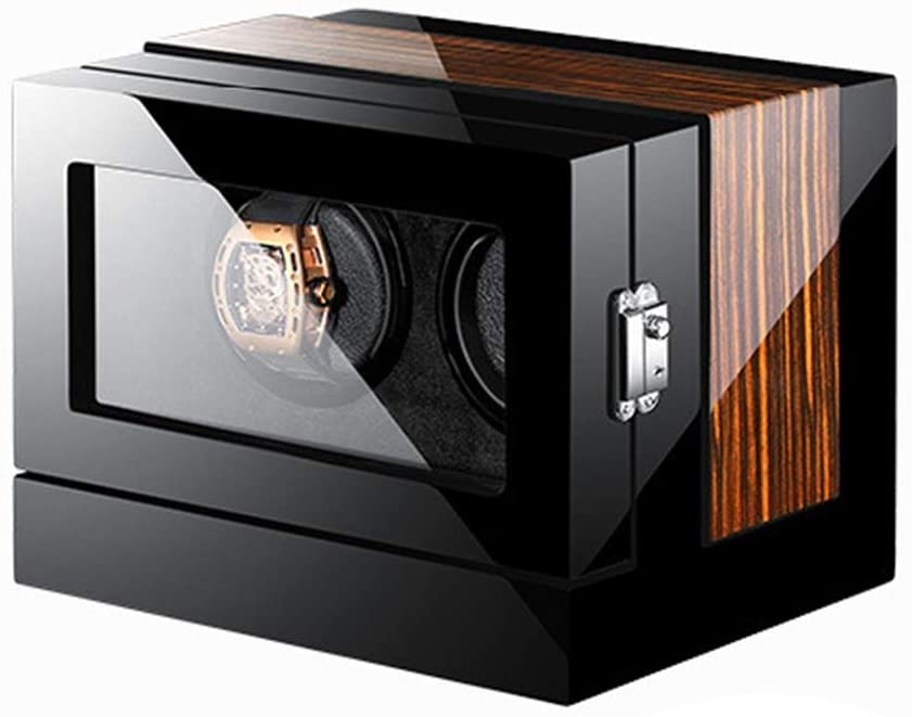 LHHL Automatic Watch Winder Box for 2 Watches with LCD Touch Display Wood Piano Paint Watch Winders Dust-Proof Box
