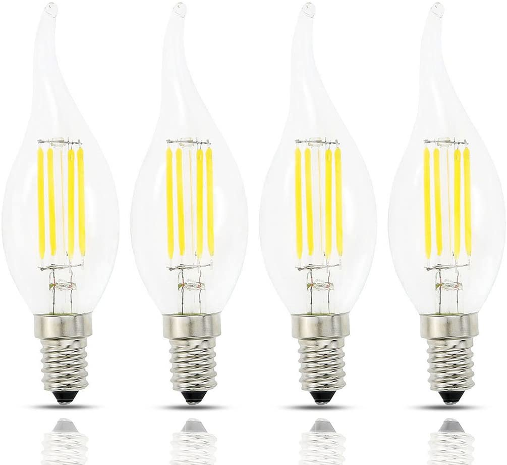 Lamsky E14 European Base LED Filament Candle Light Bulb,4W 2700K Warm White 400LM,C35 Bent Tip Flame Shape,40W Incandescent Equivalent,Non-dimmable,4 Pack