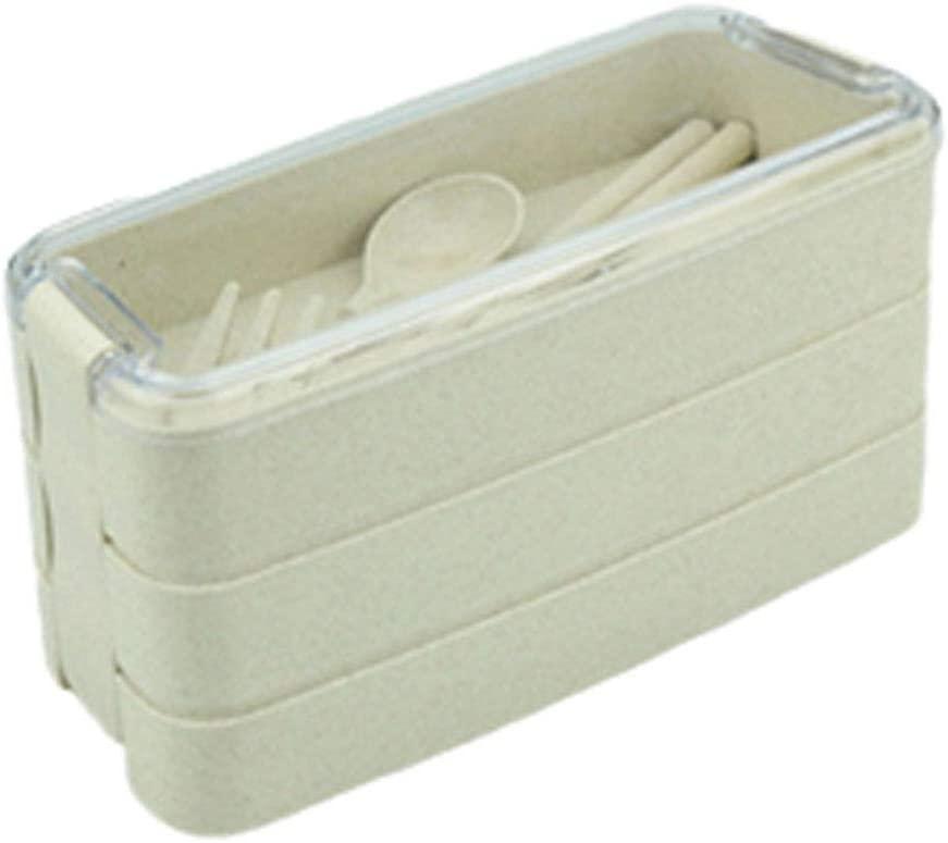 VARWANEO Outdoor Lunch Box Portable Three-Layer Rectangular Lunch Box Food Storage Box Tableware Set