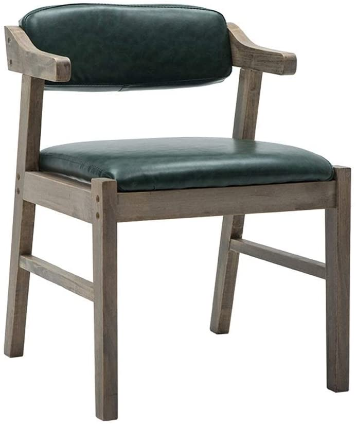 Solid Wood Dining Chair with Hemp Rope Armrest Comfortable Backrest and Upholstered Padded Fabric Seat for Kitchen - Green Faux Leather Armchair Vintage