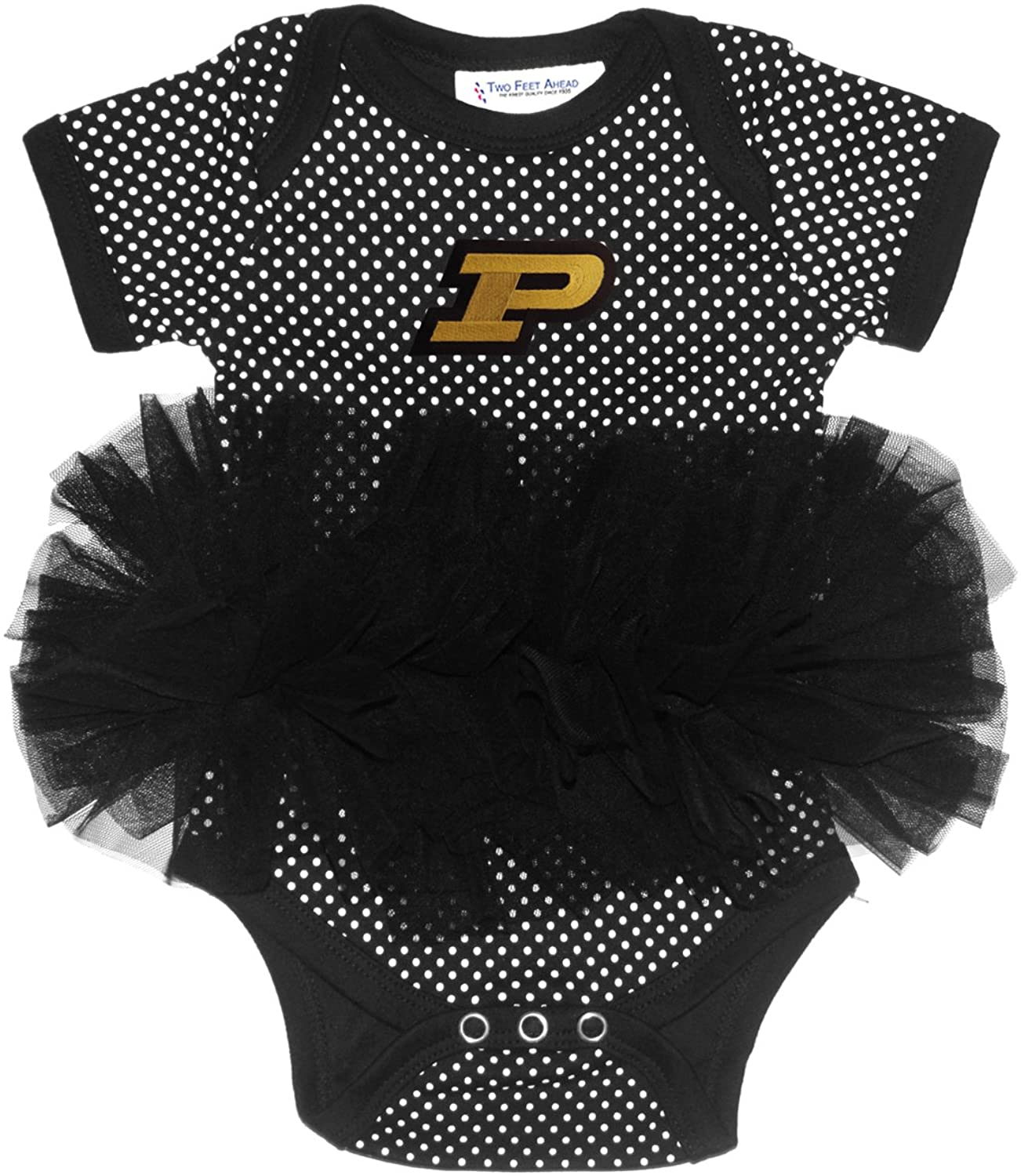 Two Feet Ahead NCAA Purdue Boilermakers Children Girls Pin Dot Tutu Creeper,6 Mo,Black