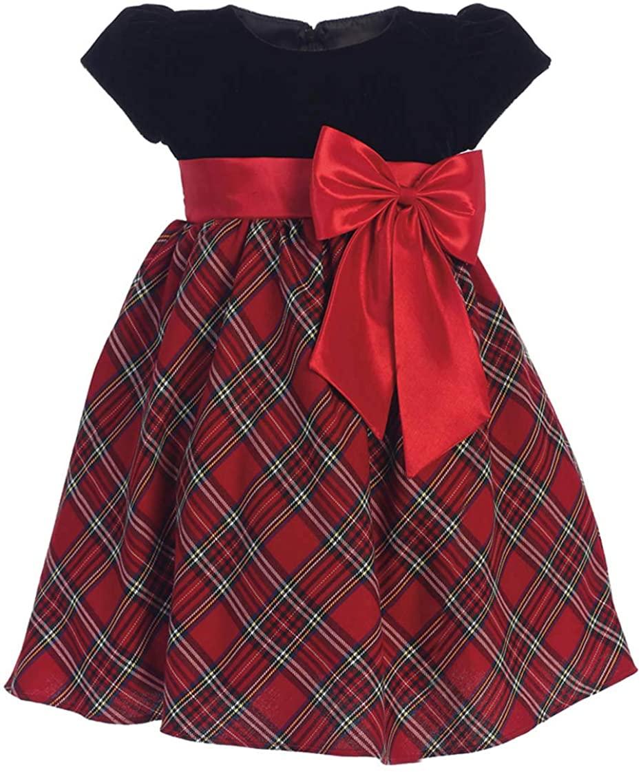 Swea Pea & Lilli C510 Velvet & Plaid Dress