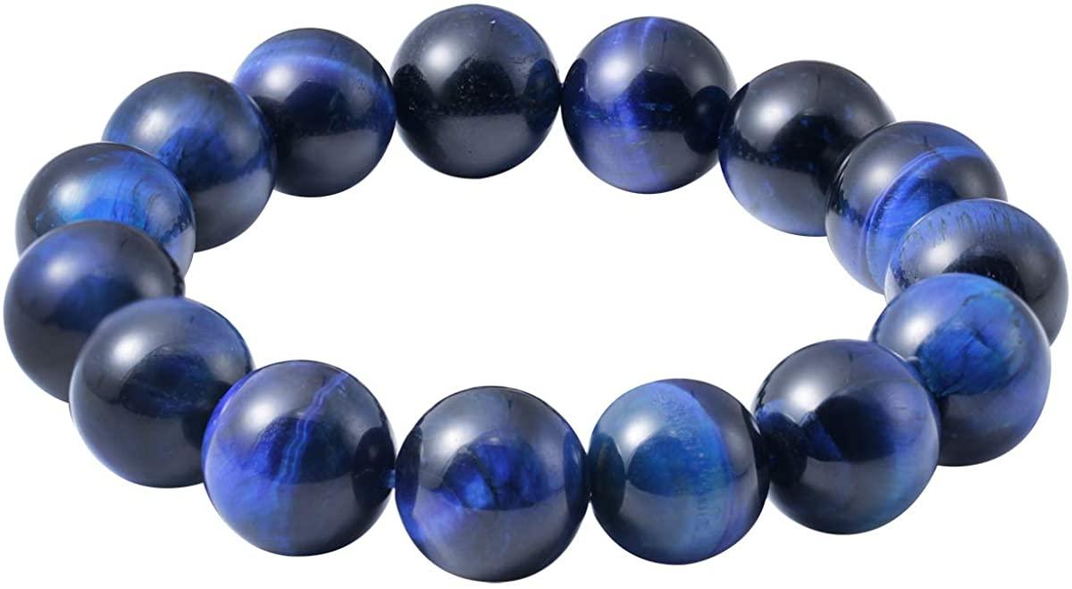 Jewever Original Natural Blue Tigereye Gemstone 12mm Smooth Round Beads Stretch Unisex