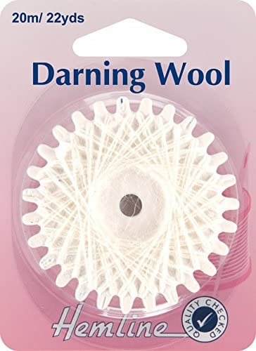 Hemline Wool & Polyester Darning Yarn 20m White - Each