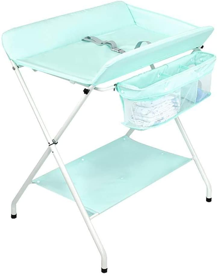 JN Baby Changing Table Baby Changing Station Foldable Diaper Table, Multi-Purpose Storage Nursery Organizer with Safety Straps Baby Crib