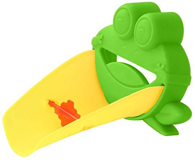 Ouken Frog Faucet Extender Green Toddler Kids Hand Washing Spout Bathroom Frog Shaped Faucet