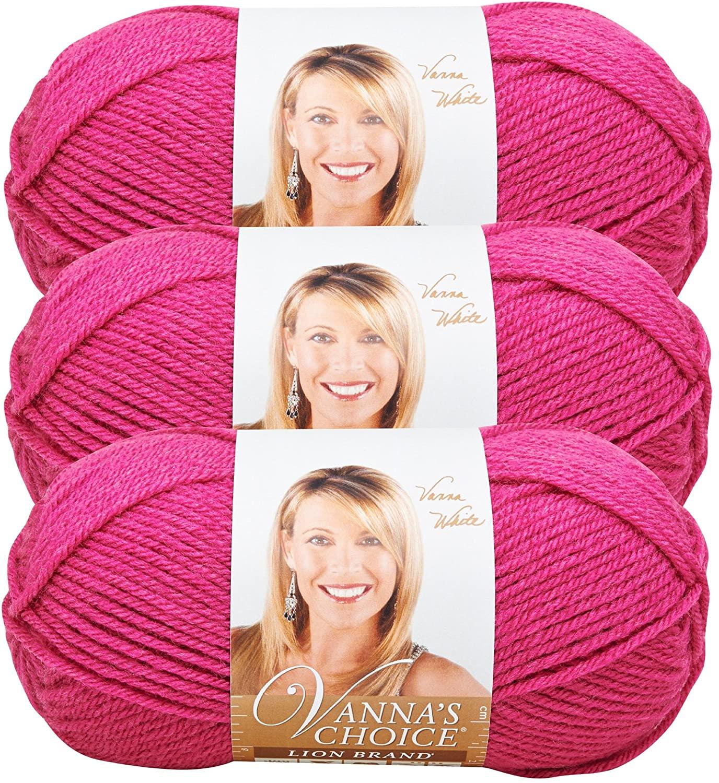 Lion Brand (3 Pack) Vanna's Choice 100% Acrylic Soft Raspberry Pink Yarn for Knitting Crocheting Medium #4