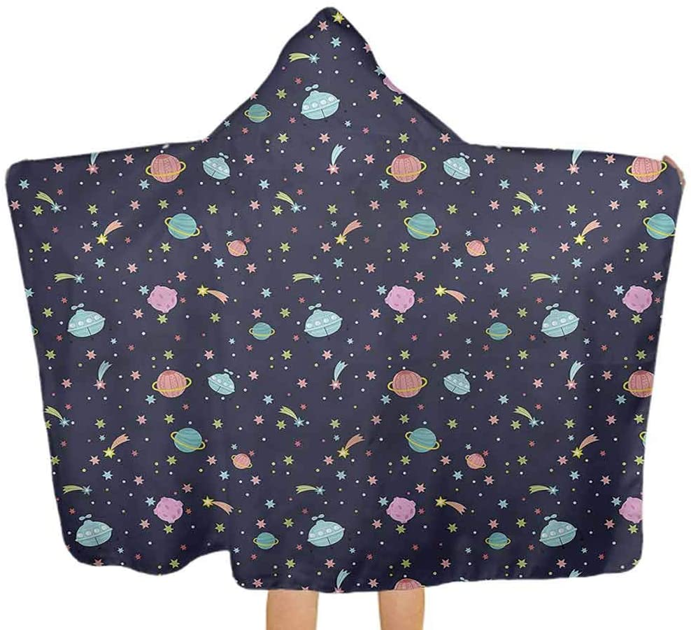 ThinkingPower Hooded Baby Towel Space, Alien Planets Asteroid Kids Hooded Beach Towel Poncho for Toddlers Girls Boys Baby 51.5x31.8 Inch