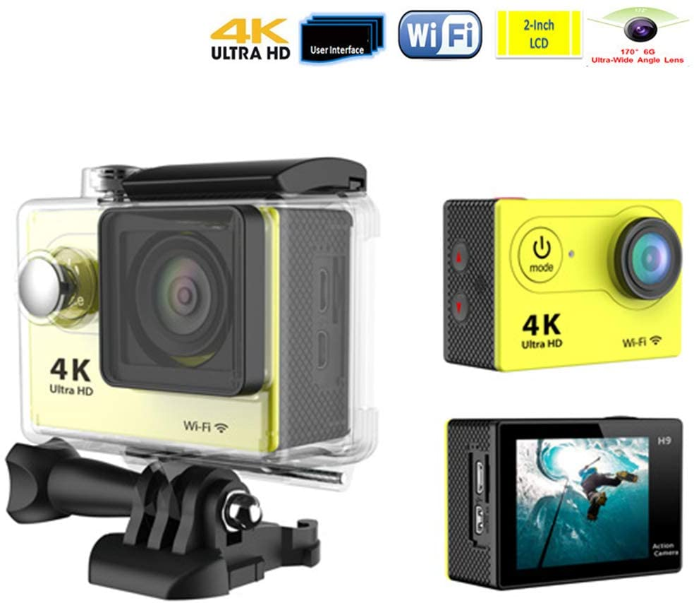4K Sports Camera, WiFi Wireless Control HDMI Video Output 30M Waterproof Diving Super Clear Camera, with 170 ° Adjustable Wide Angle Lens Camera Accessory Kit,Yellow