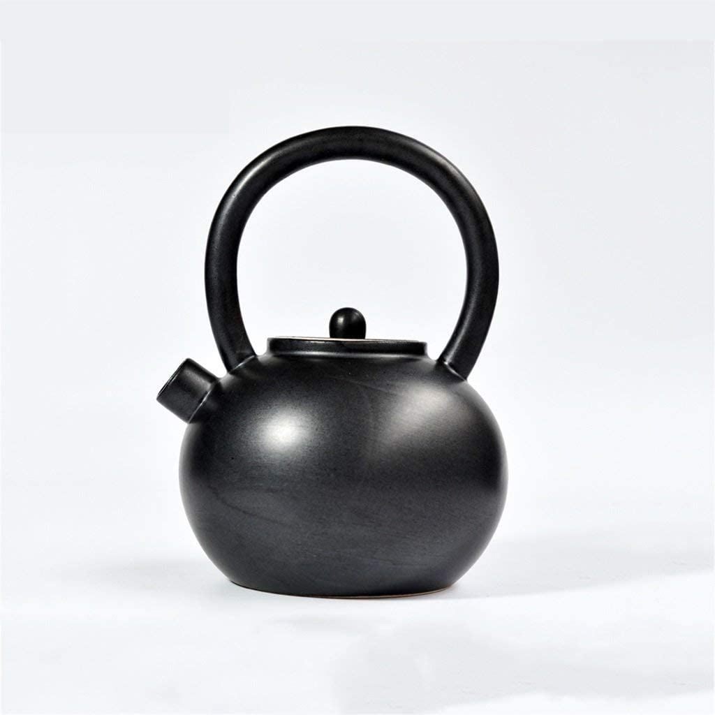 KFDQ Household Glass Kettle,Ceramic Teapot 700Ml, Matte Finish Matte Texture, Natural Curved Handle, Oriental Style