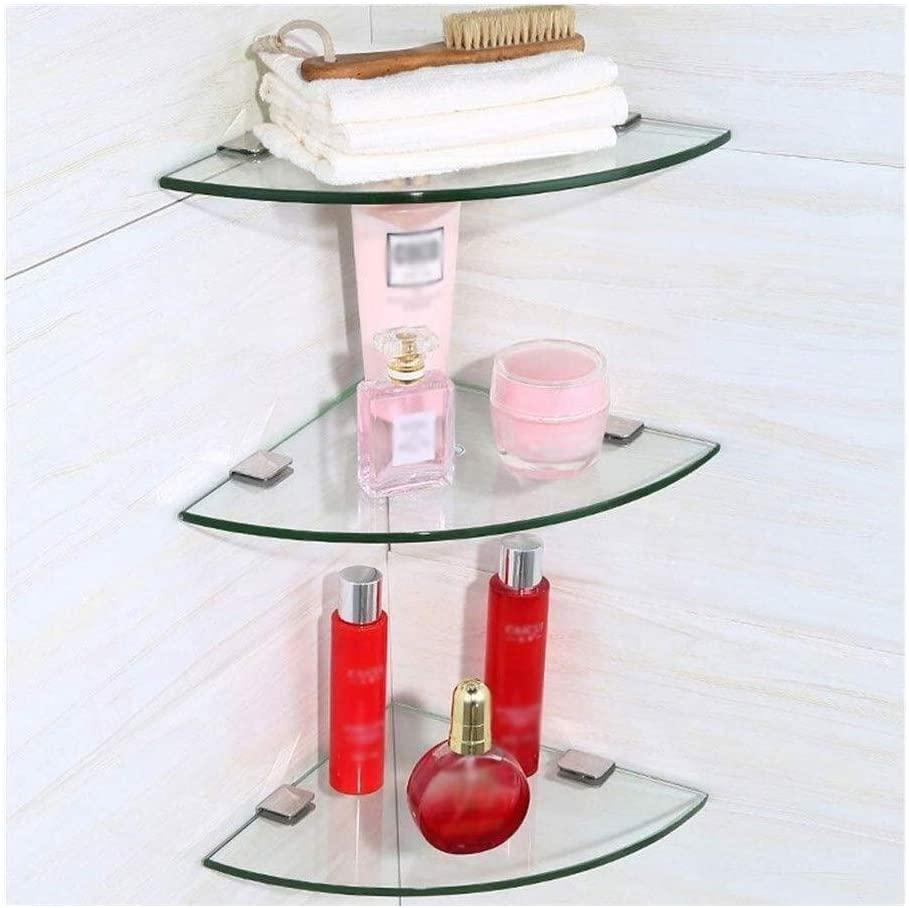 AINIYF Bathroom Shelf Tempered Glass with Shower Storage Aluminum Corner Wall Mount Triangular Shelf for Bathroom Kitchen (Color : 3 Floors, Size : 30cm)