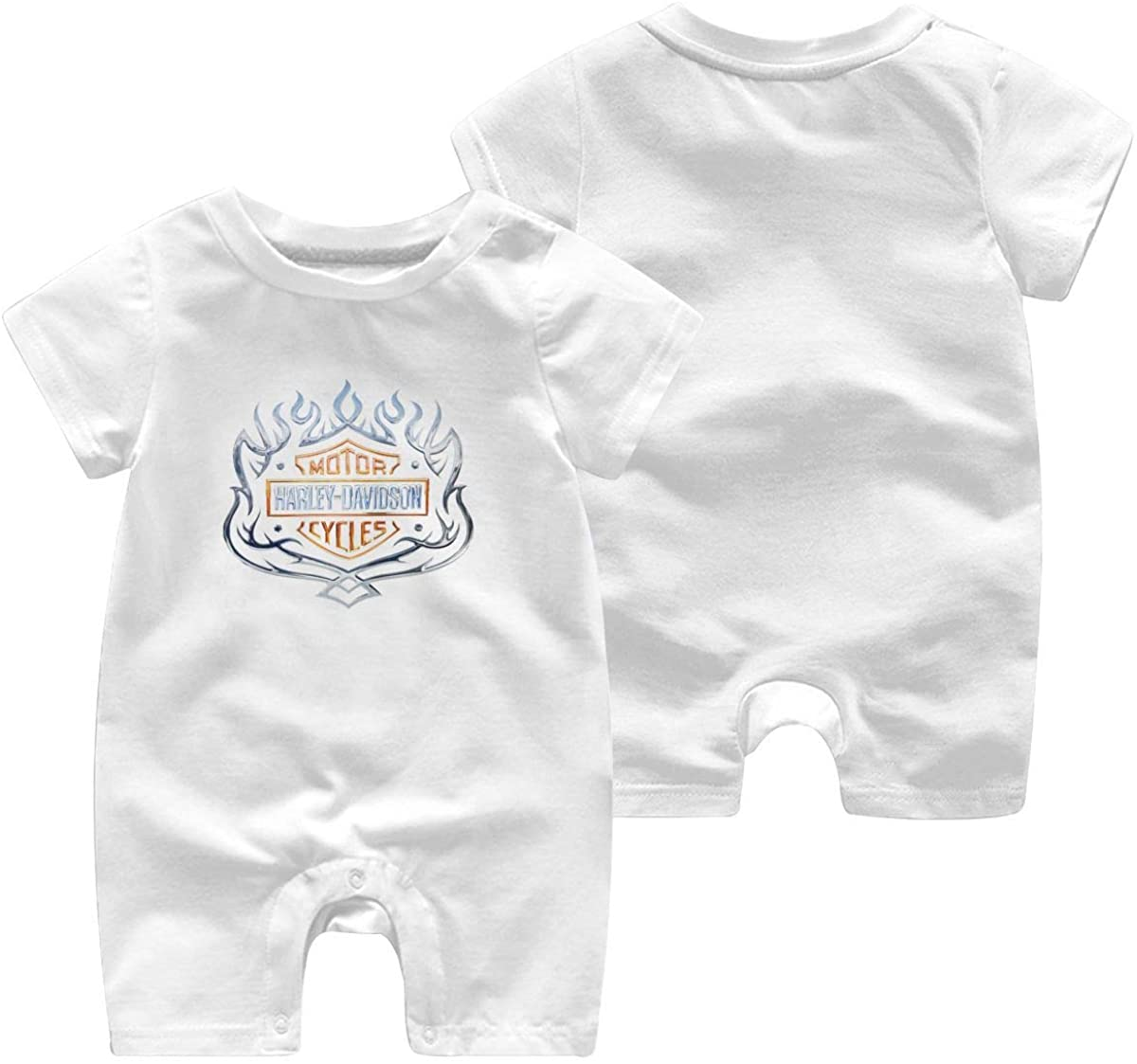 Harley Davidson One Piece Outfits Baby Solid Color Rompers with Button Kids Short Sleeve Playsuit Jumpsuits Cotton Clothing 12 Months White