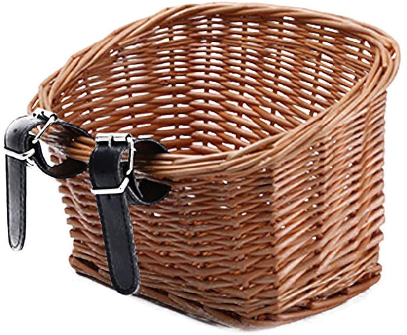 Firestrive Bike Basket Wicker Front Hand-Woven Storage Basket Bike Handlebar Bag Storage Bicycle Basket with Leather Straps