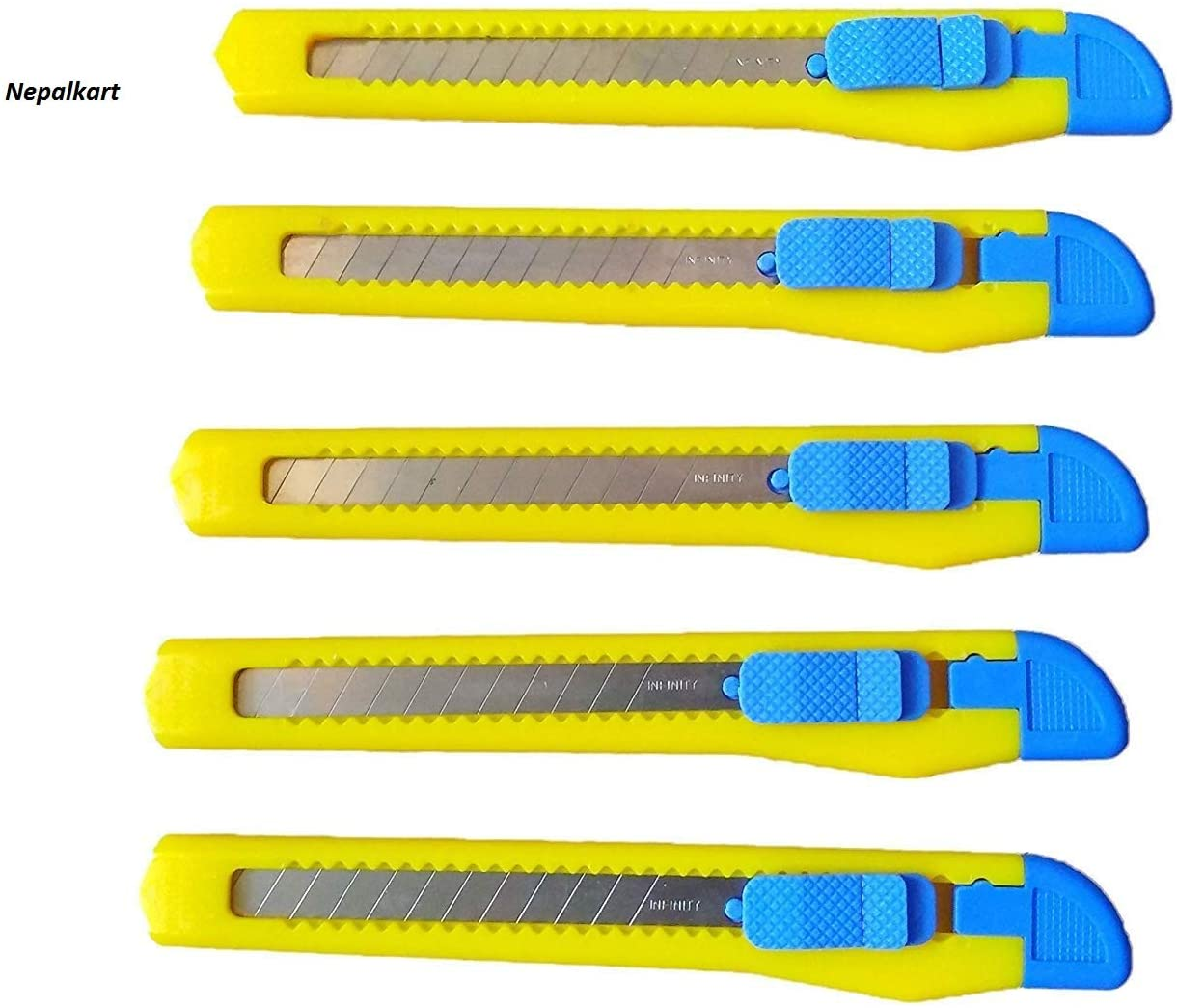 Nepalkart 20 Knife Set, Cutters Openers Utility Knives with Snap Off Blades Knife Retractable Stainless Steel Blade Cutter Knife for Cutter 9 mm Yellow