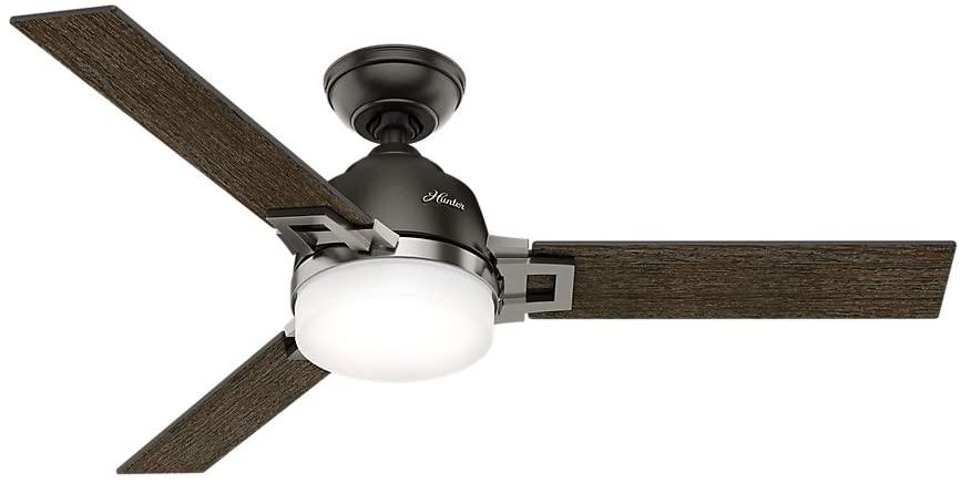 Hunter Fan Company Hunter 59219 Contemporary Modern 48``Ceiling Fan from Leoni Collection Dark Finish, Small, Noble Bronze