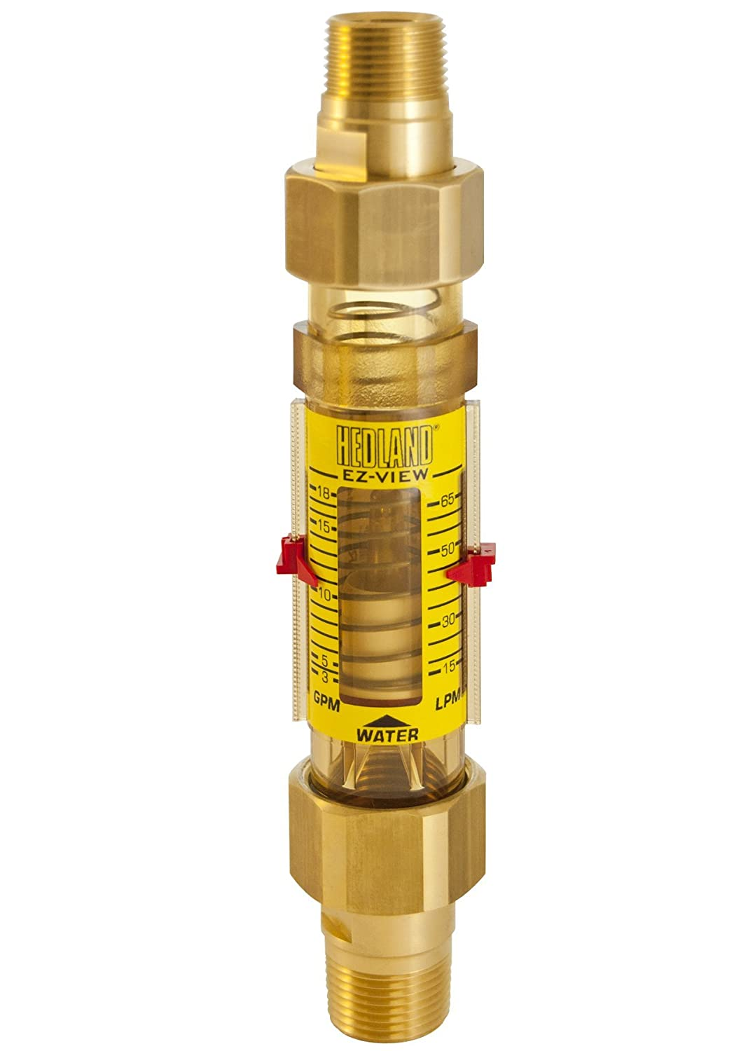 Hedland H625-018-R EZ-View Flowmeter, Polyphenylsulfone, For Use With Water, 3.0 - 18 gpm Flow Range, 3/4