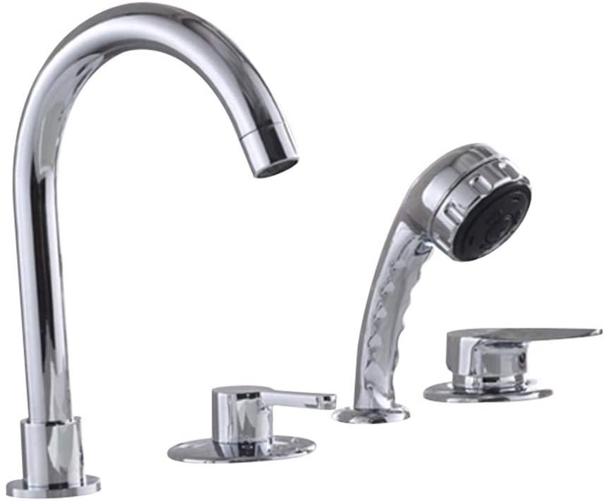 GLYYR Bathtub Faucet Contemporary Chrome Widespread Ceramic Valve Bath Shower Mixer Taps
