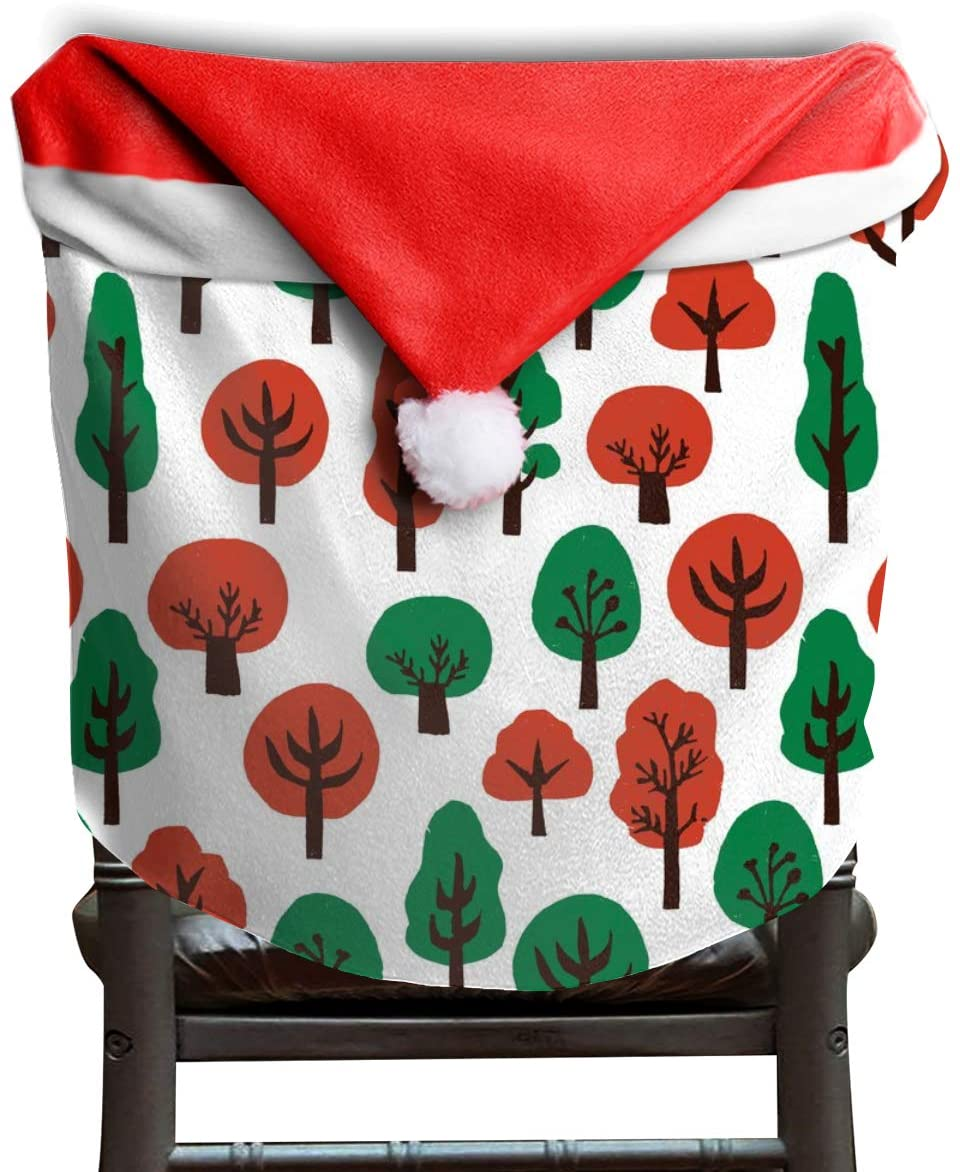 NA 2 Pack Santa Claus Christmas Chair Covers, Chair Back Covers for Dinning or Kitchen Decorations,Xmas Stamp Tree Rg