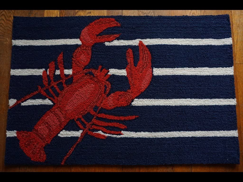 Red Lobster Hand Tufted Rug Throw Carpet Nautical Blue Home Decor Doormat
