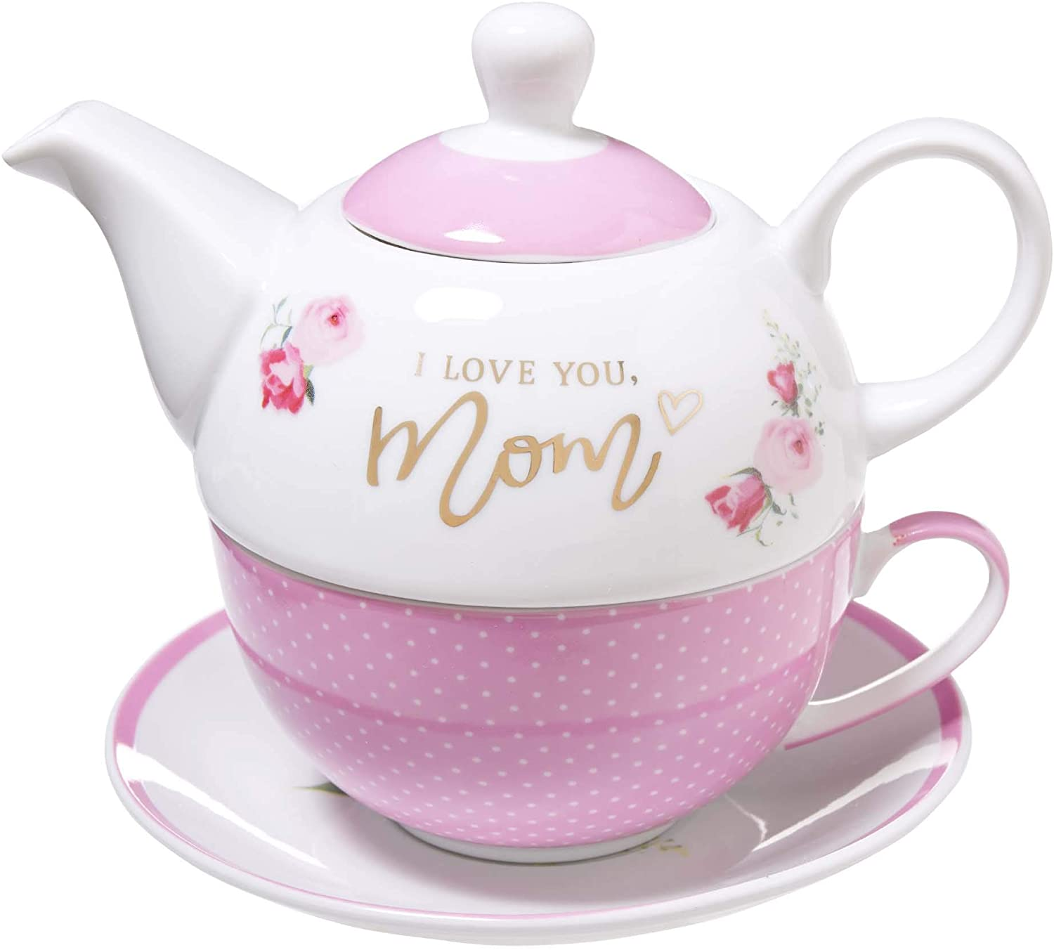 Ceramic Teapot Set | I Love You Mom - Proverbs 31:29 | Pink Flowers Tea For One Set with Tea Cup and Saucer