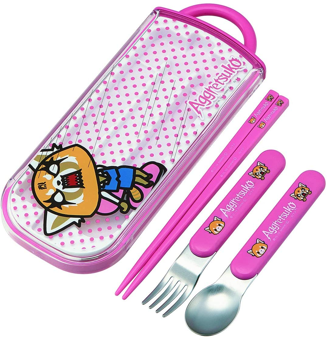 Skater Sanrio Aggretsuko Lunch Utensil Set - Includes Reusable Fork, Spoon, Chopsticks and Carrying Case - Authentic Japanese Design - Durable, Dishwasher Safe