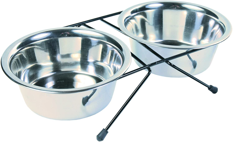 Trixie Stainless Steel Eat On Feet Dog Bowl Set (2 × 25.5 Fl. Oz) (silver)