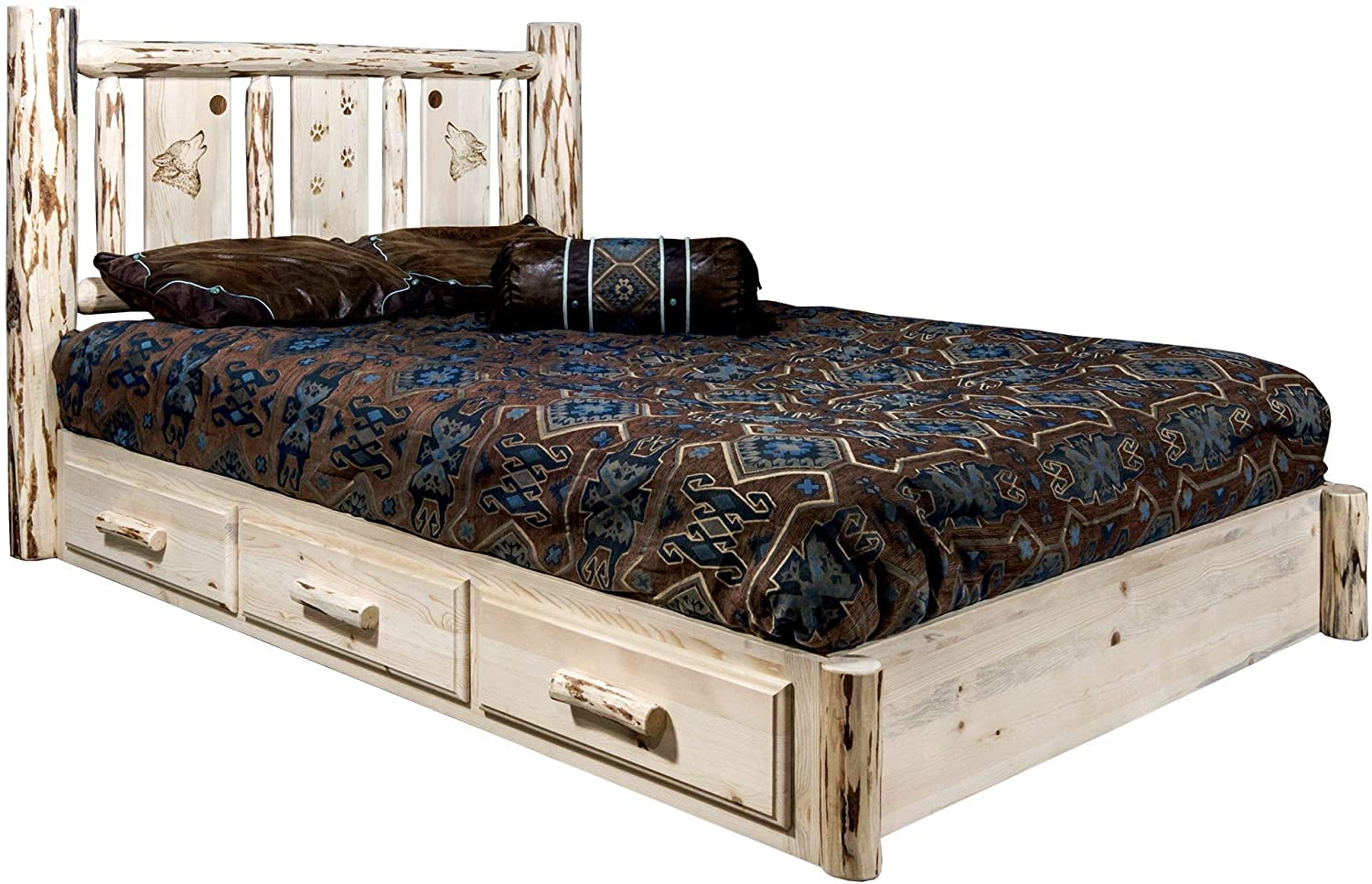 Montana Woodworks Wolf Design Laser Engraved Platform Bed in Ready Finish (Full: 83 in. L x 60 in. W x 47 in. H (262 lbs.))