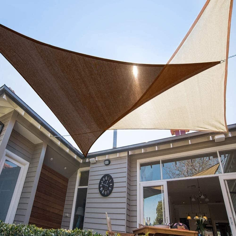 DABAI Awnings Outdoor UV Resistant Breathable Canopy Oxford Cloth Knitted Awning Triangle/Rectangle Brown,for Carport Party Camping (Color : -, Size : 3x5m/9.8x16.4ft)