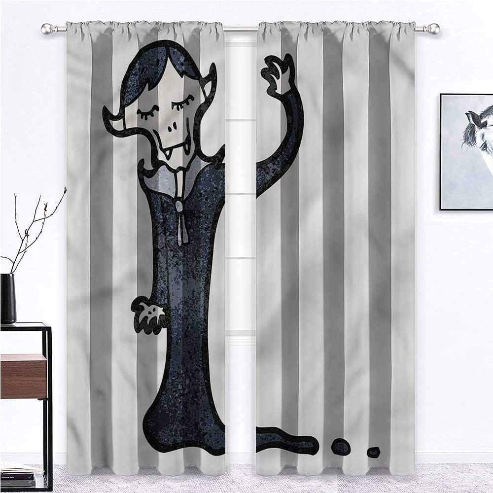GugeABC Outdoor Curtains for Patio Waterproof Vampire for Boy Girl Bedroom Funny Cartoon Character 63 x 63 Inch (2 Panels)