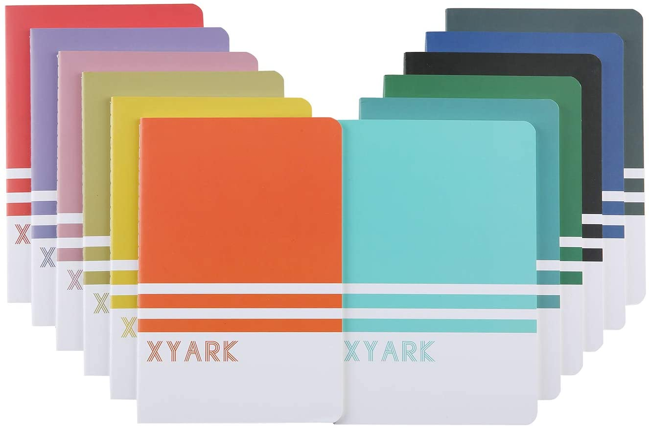 XYark 12 Pack College Ruled Notebook Journals Bulk for Travelers, Student and Office, A5 Colorful Classic Writing Diary Notebooks Planner with Lined Paper, 30 Sheets, 8.3x5.5 inch, Travel Journal Set