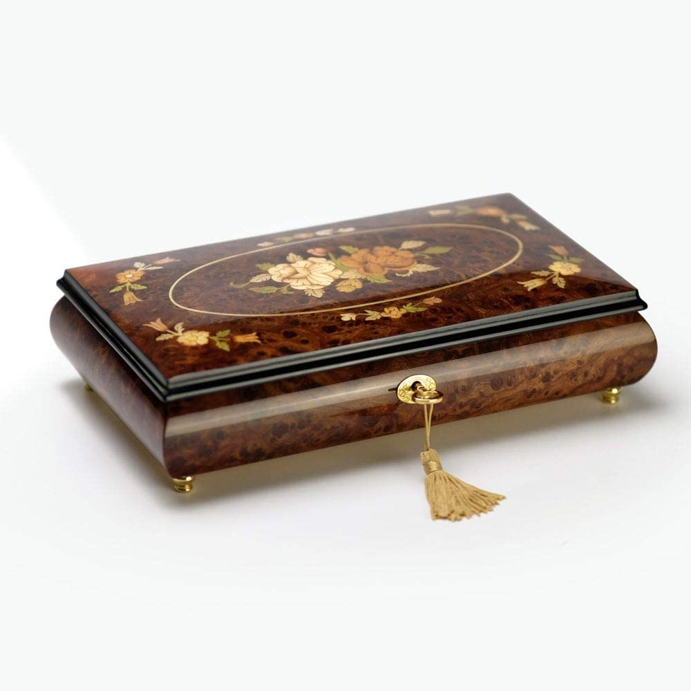 Dark Wood Tone Roses with Ornate Motifs Inlay 22 Note Musical Jewelry Box - Eine Kleine Nachtmusik - Allegro