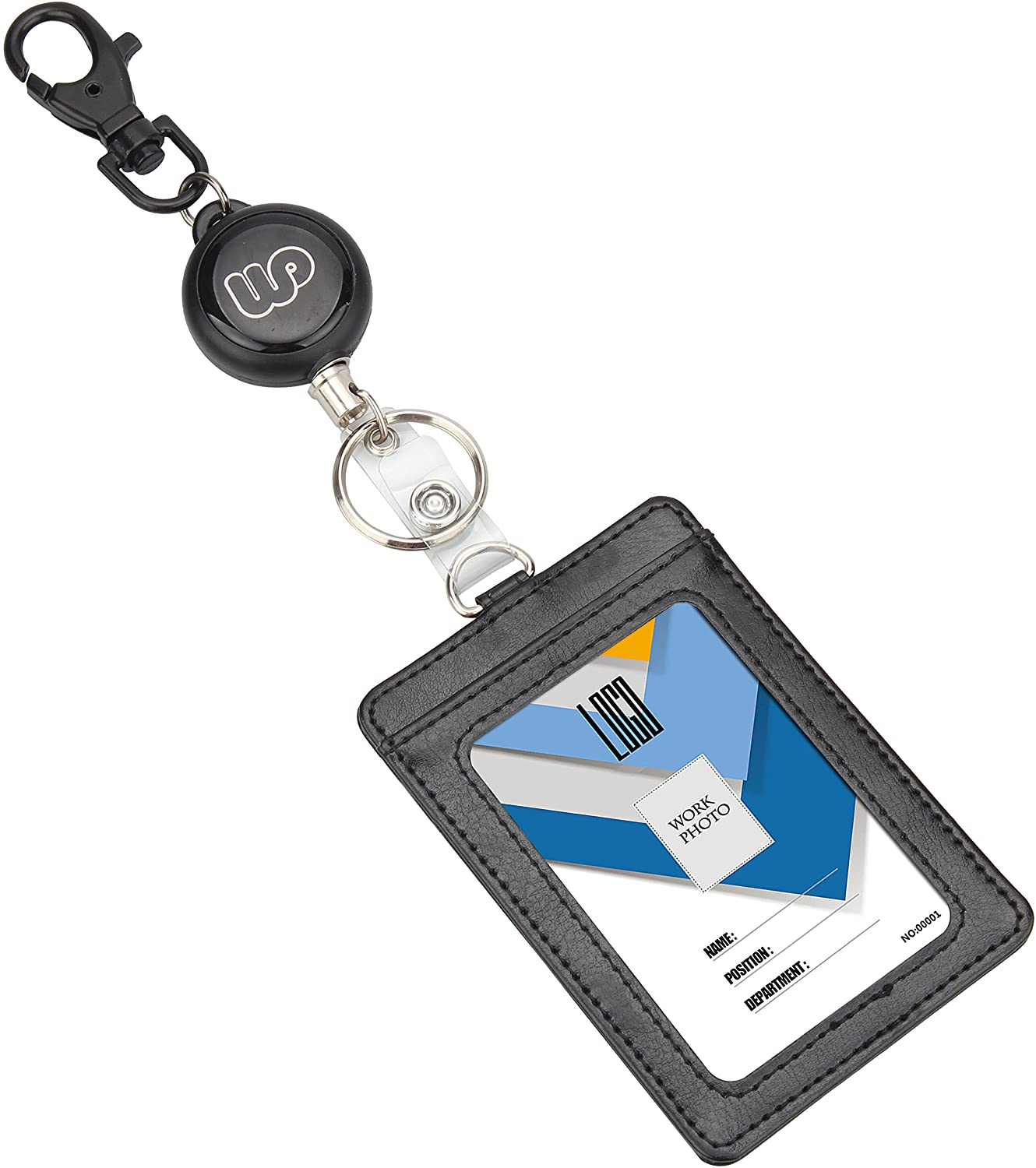Retractable Badge Holder, Wisdompro Heavy Duty Retractbale Reel with Keyring and 2-Sided PU Leather ID Badge Card Holder Wallet Case with 1 Clear ID Window and 1 Credit Card Slot - Vertical