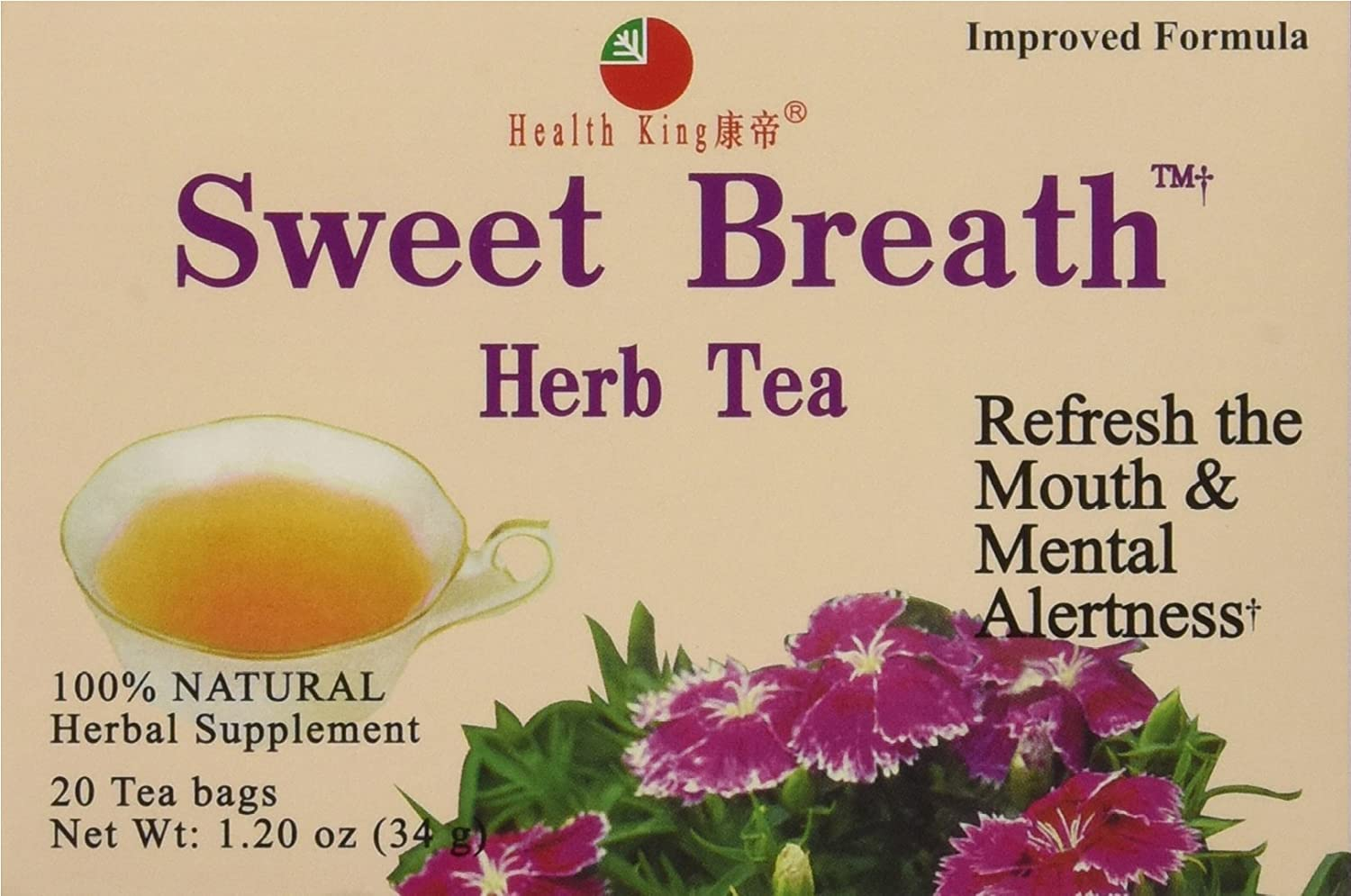 Health King Sweet Breath Herb Tea, Teabags, 20 Count Box