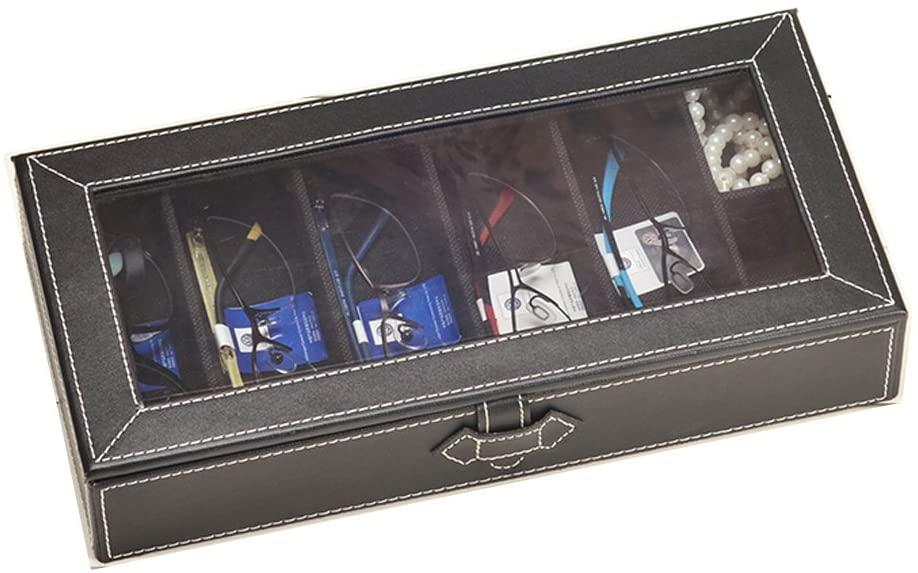 Figella 7 Slot Sunglasses/Eyeglasses/Reading Glasses Display Case with Clear Lid Design/Watch & Jewelry Organizer Box (Black)