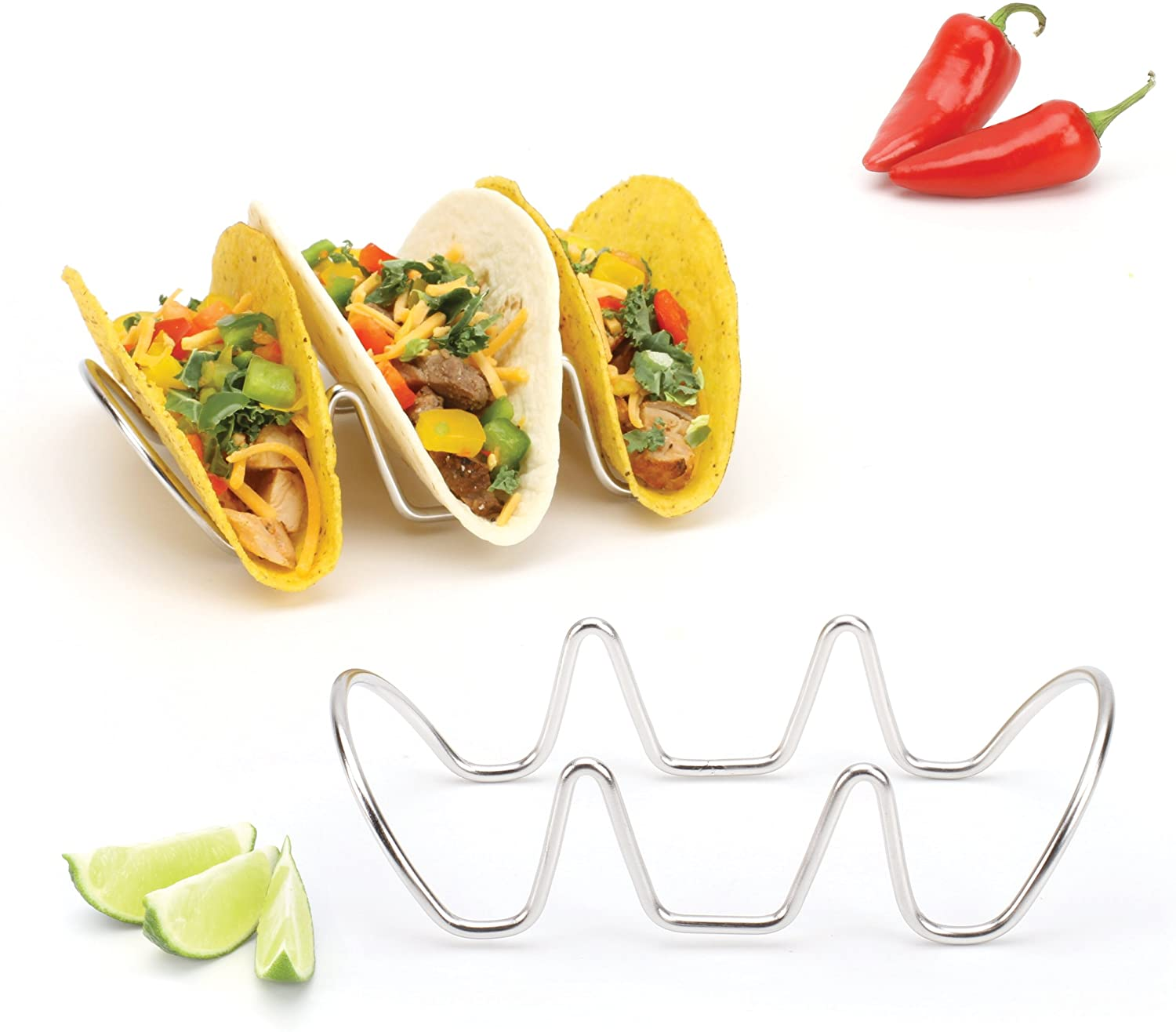 Taco Holders Set of 2 Premium Stainless Steel Stackable Stands, Each Rack Holds 3 Hard or Soft Tacos, Five Styles Available By 2lbDepot