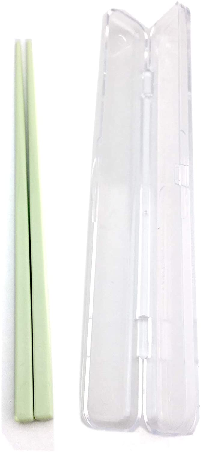 Colorful Portable Japanese Chopsticks.One pair with a case. Eco-friendly for your lunch. Portable and Reuse. (Green)